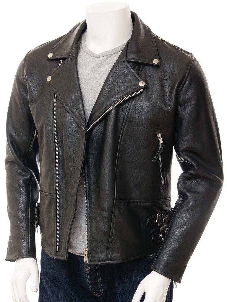 Mens Black Biker Leather Jacket: Ashford :: MEN :: Caine