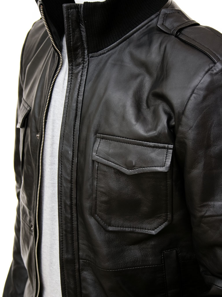 Black leather jacket mens bomber