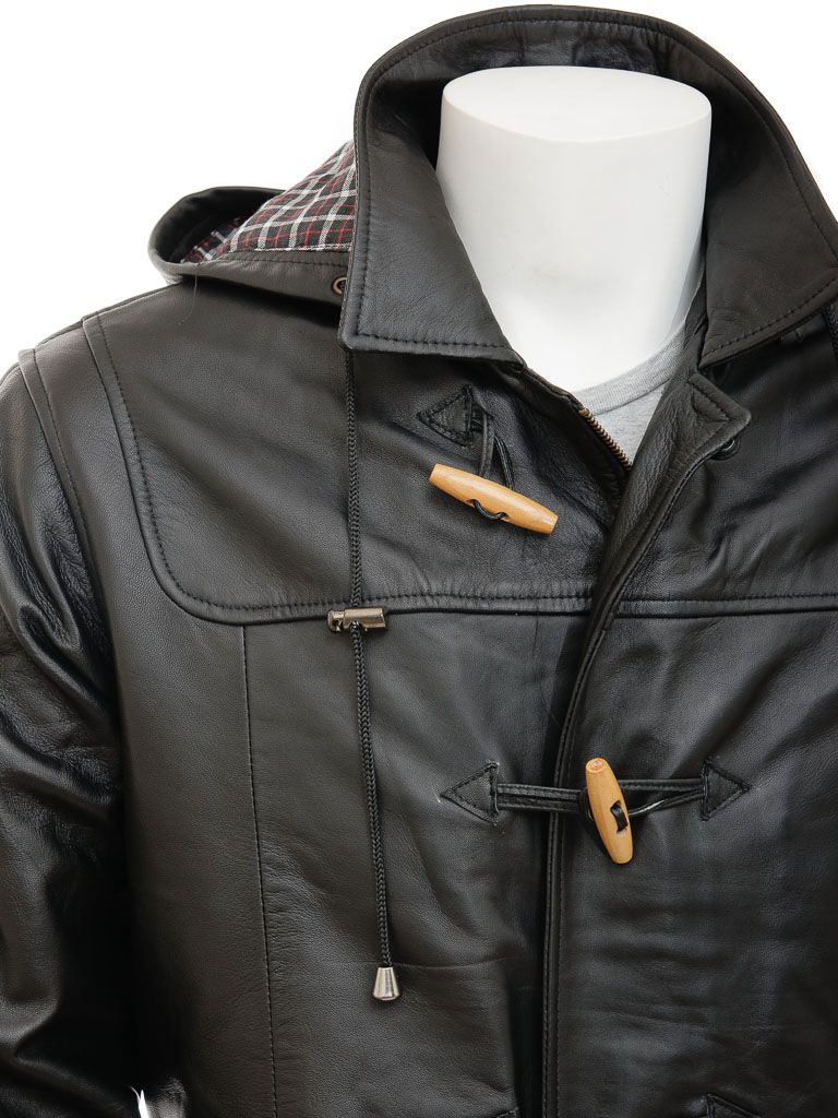 Men's Leather Duffle Coat in Black: Kaluga :: MEN :: Caine