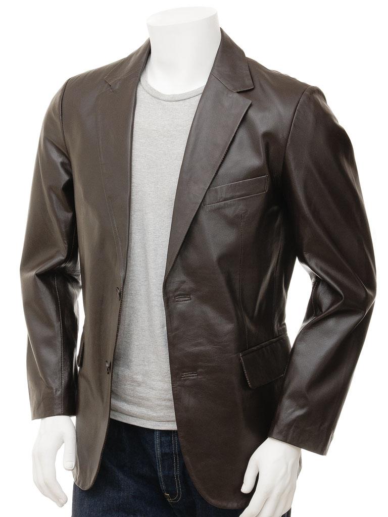 Mens Brown Leather Blazer Magdeburg Front