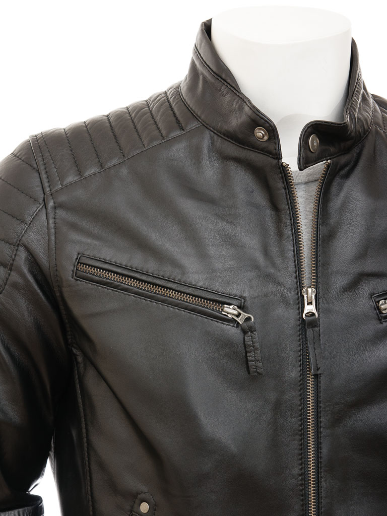 Mens Black Biker Leather Jacket: Maikop :: MEN :: Caine