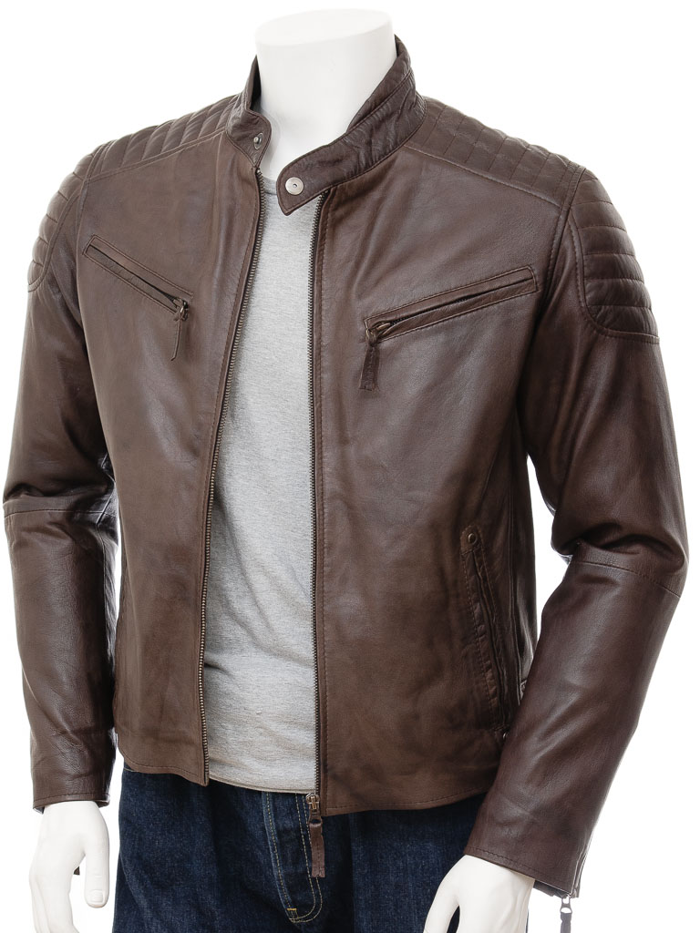 Mens Brown Biker Leather Jacket: Maikop :: MEN :: Caine
