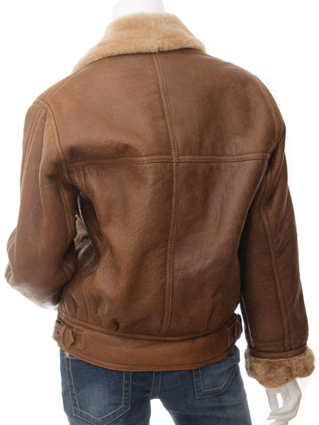 Womens Tan Sheepskin Flying Jacket: Arley :: WOMEN :: Caine