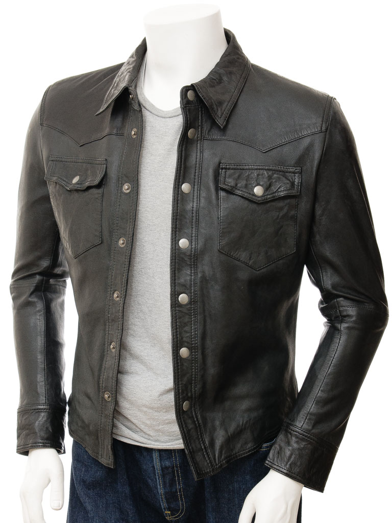 Mens black leather shirt beaworthy men caine for Leather jacket and shirt