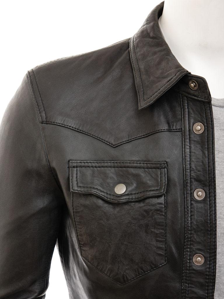 Mens Black Leather Shirt: Beaworthy :: MEN :: Caine