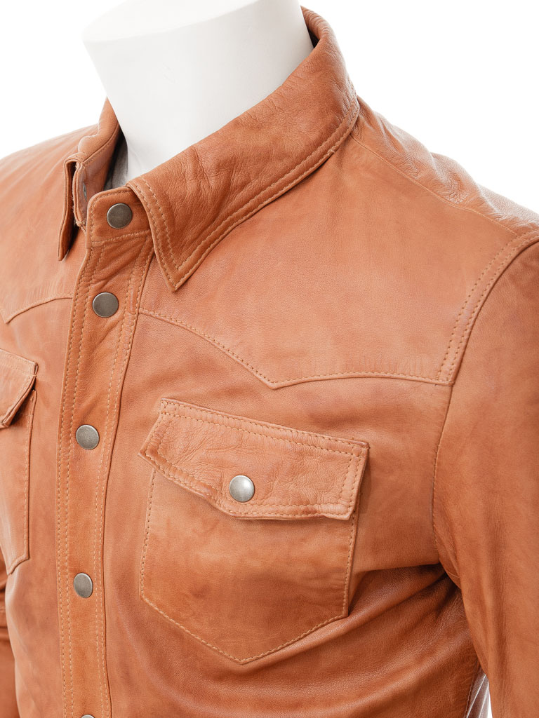 Mens tan leather shirt beaworthy men caine for Mens shirts with leather