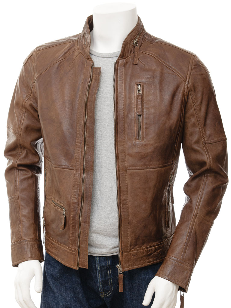 Mens Biker Leather Jacket in Brown: Bellever :: MEN :: Caine