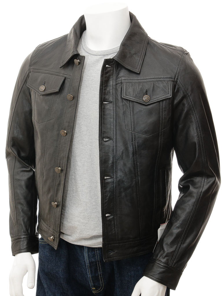 Men's leather jacket in a heavy duty vintage brown leather exclusively from Jamin' Leather. This premium denim style jacket in leather comes with a 5 button front, shirt style collar, two chest button pockets, two front pockets and more.5/5(6).