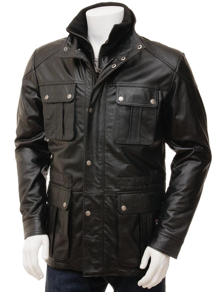 Men's Black Leather Jacket: Nis :: MEN :: Caine