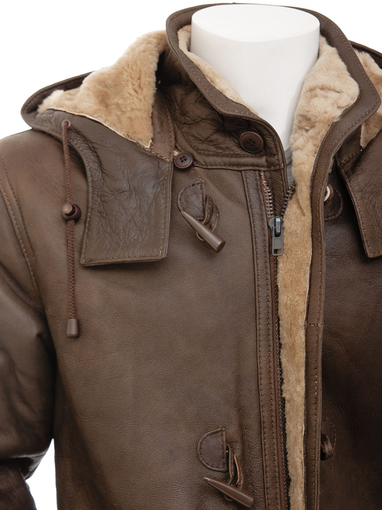 Mens Brown Sheepskin Duffle Coat: Plzen :: MEN :: Caine