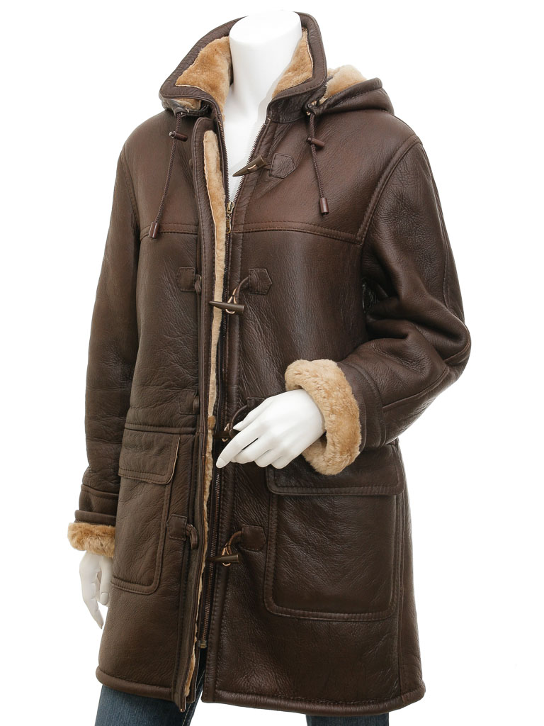 Womens Brown Sheepskin Duffle Coat: Scottsdale :: WOMEN :: Caine