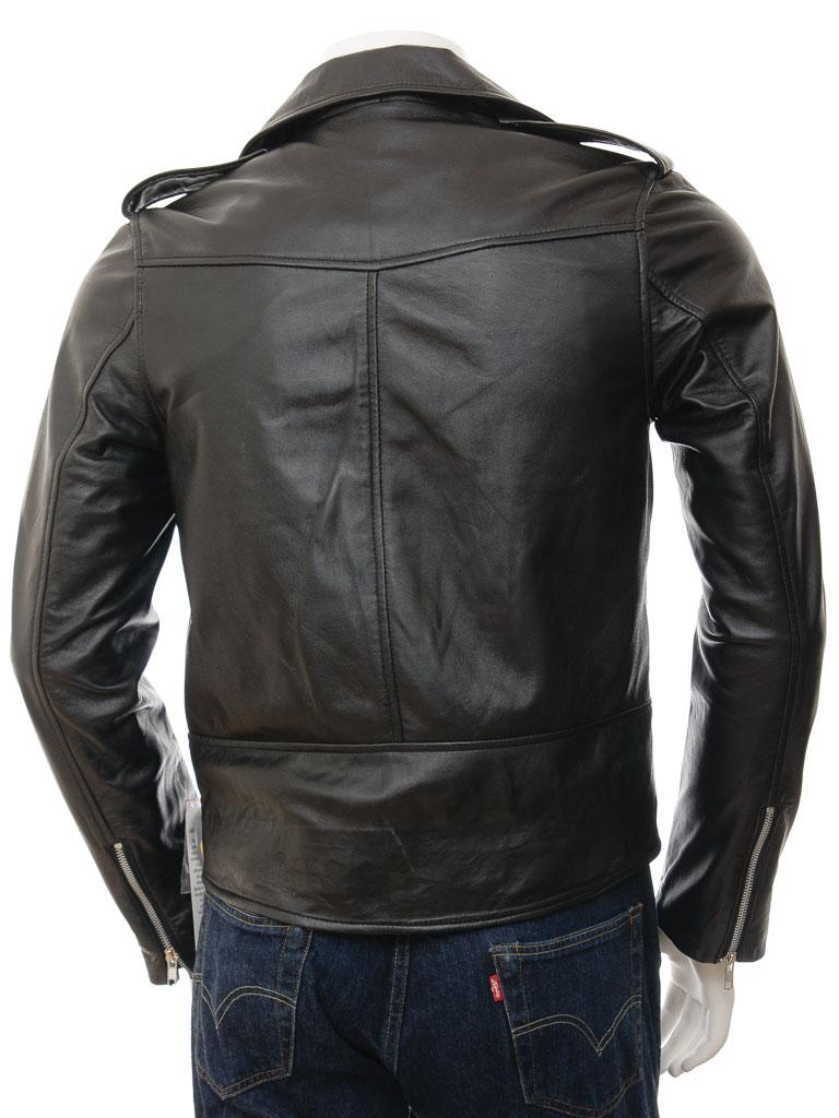 mens black biker leather jacket shores men caine. Black Bedroom Furniture Sets. Home Design Ideas