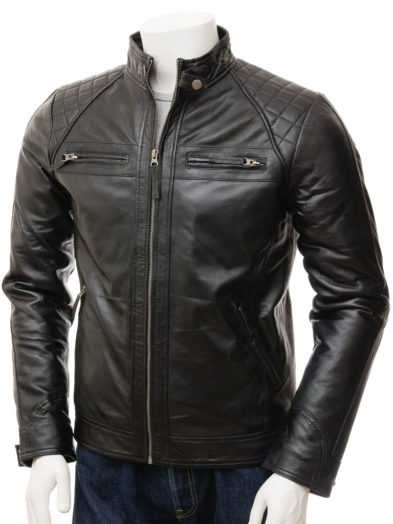 Menu0026#39;s Black Biker Leather Jacket Sibiu  MEN  Caine