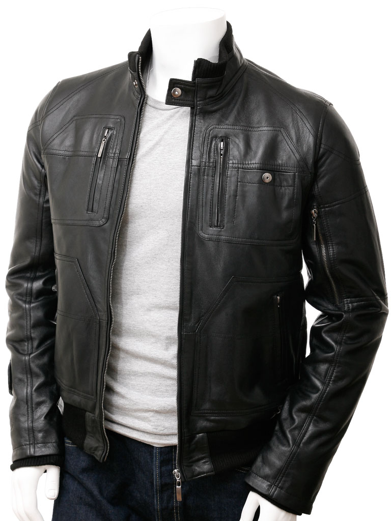 Men's Bomber Leather Jacket in Black: Bristol :: MEN :: Caine