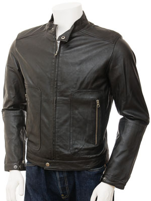 Mens Biker Leather Jacket in Black: Accott