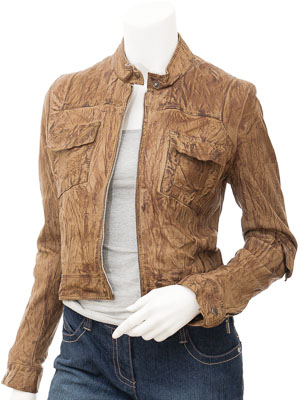Womens Olive Biker Leather Jacket: Alabaster
