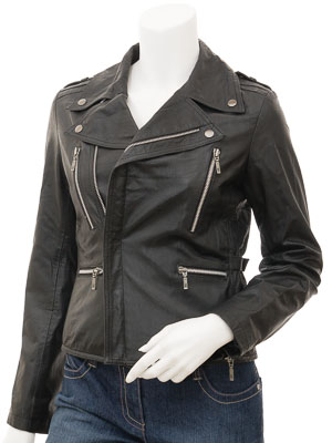 Womens Black Biker Leather Jacket: Alden
