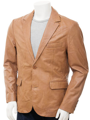 Mens Leather Blazer in Tan: Alphington