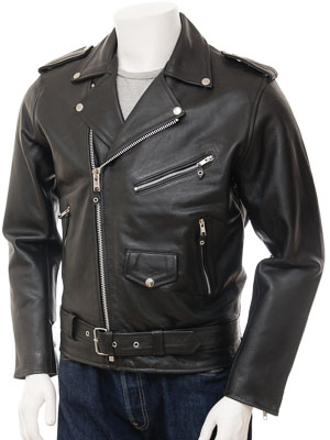 Mens Biker Leather Jacket in Black: Ashcombe