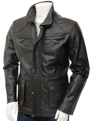 Men's Leather Jacket in Black: Athens