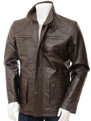 Men's Leather Jacket in Brown: Athens