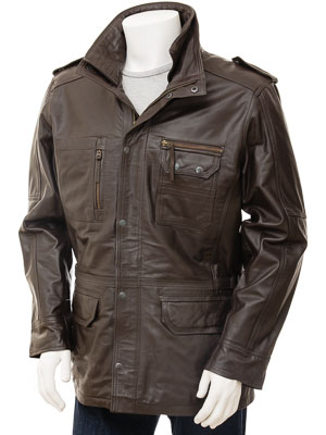 Mens Leather Jacket in Brown: Atherington