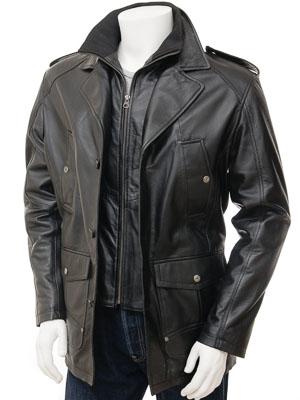 Mens Leather Coat in Black: Avonwick