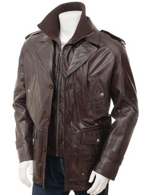 Mens Leather Coat in Brown: Avonwick
