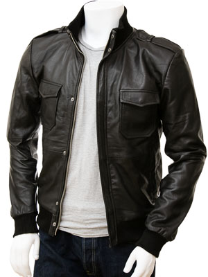 Men's Black Bomber Leather Jacket: Belgrade