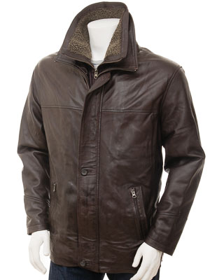 Mens Brown Leather Coat: Erfut