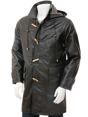Men's Leather Duffle Coat in Black: Kaluga