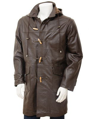 Men's Leather Duffle Coat in Brown: Kaluga :: MEN :: Caine