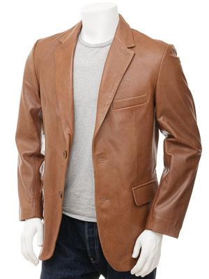 Men's Tan Leather Blazer: Magdeburg