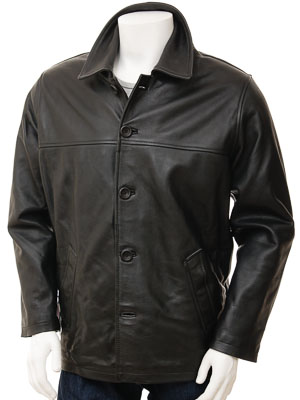 Mens Black Leather Reefer Jacket: Mostoles
