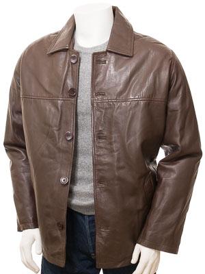 Mens Brown Leather Reefer Jacket: Mostoles