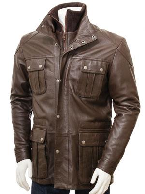 Men's Brown Leather Jacket: Nis