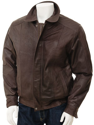 Mens Brown Leather Jacket: Rennes