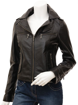 Ladies Biker Leather Jacket in Black: Niagara