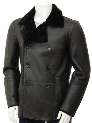 Mens Black Sheepskin Peacoat: Badworthy