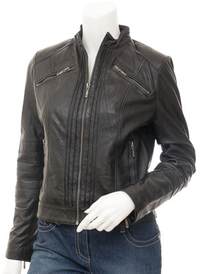 Womens Black Biker Leather Jacket : Bankston