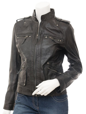 Womens Black Leather Jacket : Barlow