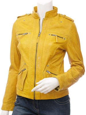 Womens Yellow Leather Jacket: Barlow