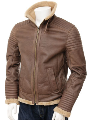 Mens Sheepskin Jacket in Brown: Berrynarbor