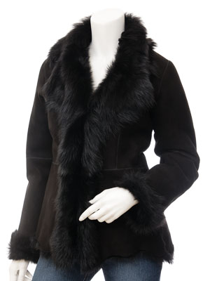 Womens Black Toscana Shearling Jacket: Boaz