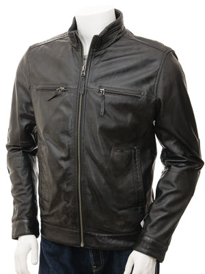 Mens Black Biker Leather Jacket: Groningen