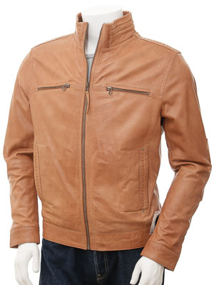 Mens Tan Biker Leather Jacket: Groningen