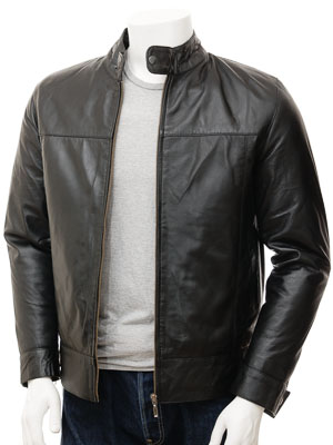 Mens Biker Leather Jacket in Black: Kovrov