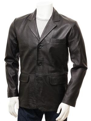 Mens Leather Blazer in Black: Leskovac