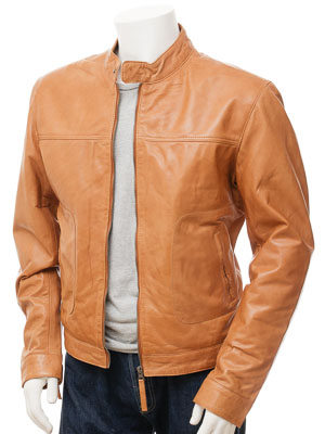 Men's Tan Biker Leather Jacket: Oldenburg :: MEN :: Caine