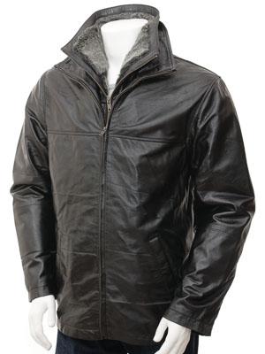 Mens Black Leather Coat: Pecs